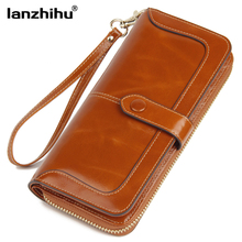 2017 New Women's Genuine Leather Wallet Female Zipper Wallets RFID Blocking Clutch Large Card Holder Phone Wristlet Coin Purse realer wallets for women genuine leather long purse female clutch with wristlet strap bifold credit card holders rfid blocking