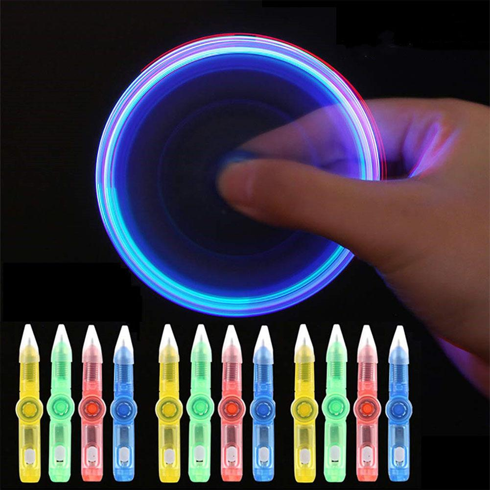 Adeeing LED Colourful Luminous Spinning Pen Rolling Pen Ball Point Pen Learning Office Supplies Random Color