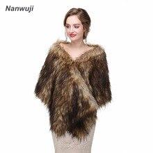 New Elegant Long Hair Faux Fur Wedding Shawl Stoles Wraps Cape for Women Beige