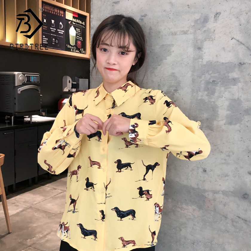 Women's Blouses 2018 Fashion New Spring Turn-down Collar Women Print Dog Shirt Female Sweet Ladies Slim Tops Hots Sale T83842L