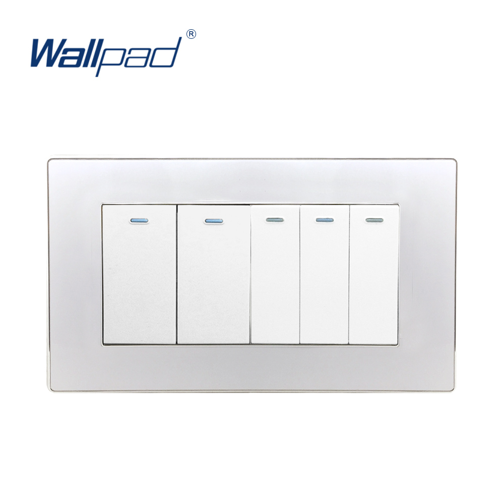 цена на 2018 Hot Sale 5 Gang 2 Way Wall Light Switch Wallpad Luxury Acrylic Panel Push Button Rocker Switch