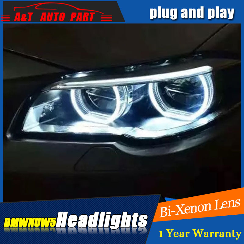 Auto part Style LED Head Lamp for BMW 5 series led headlights for 520Li 525Li drl H7 hid Bi-Xenon Lens angel eye low beam hireno headlamp for mercedes benz w163 ml320 ml280 ml350 ml430 headlight assembly led drl angel lens double beam hid xenon 2pcs