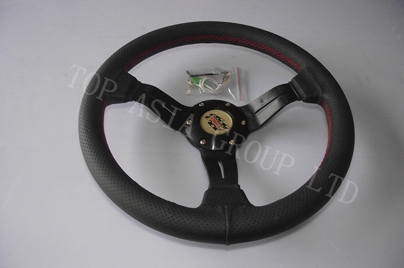 ФОТО 13 Inch Racing Aluminum Steering Wheel Real Leather