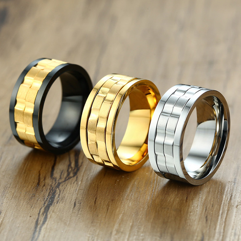 ZORCVENS 2020 New Fashion 9mm Gold Black Rotatable Stainless Steel Wedding Rings for ManRings   -
