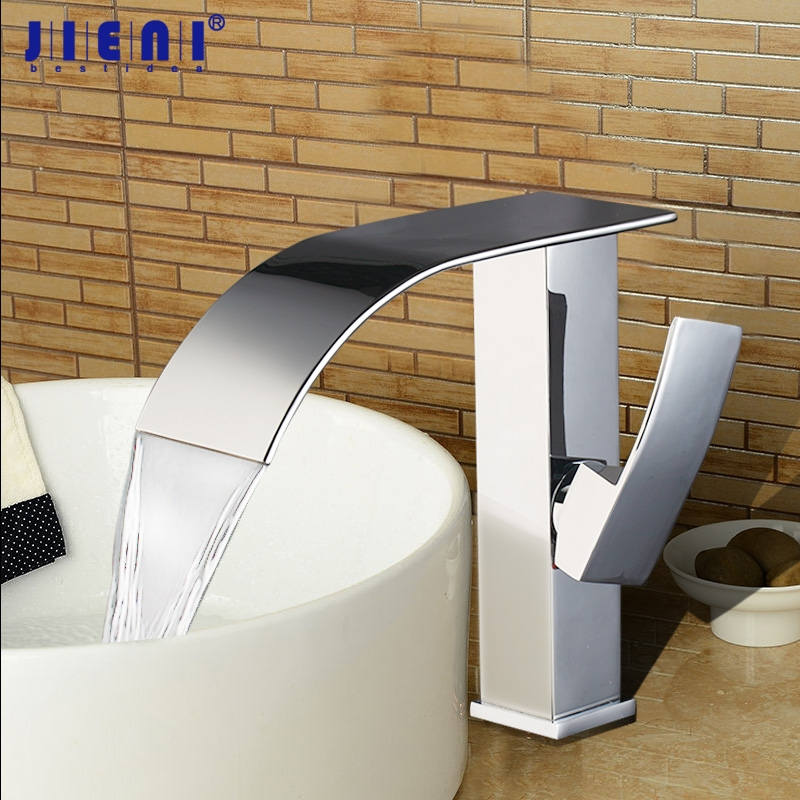 Polished Chrome Bathroom Basin Sink Faucet Mixer Basin Faucet Brass Tap Waterfall Extend Spout Chrome Faucet Tap chrome polished solid brass bathroom sink faucet waterfall spout bathroom basin mixer tap wall mounted