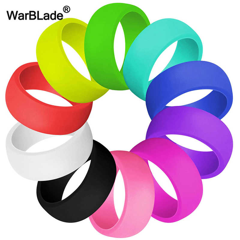 WarBLade 10pcs/set 11 Style Silicone Ring Hypoallergenic Crossfit Flexible Sports Rubber Finger Ring For Men Women Wedding Rings