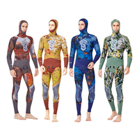 C423 5MM Camouflage Diving Suit Male Split Hooded Long Sleeve Fish Hunting Fishwear Thicken Warm Snorkeling Surf Winter Swimsuit