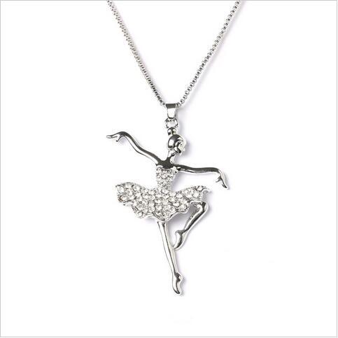 602f4e819218 Moda de plata de color cristal baile bailarina Ballet danza COLLAR COLGANTE  para Niñas Navidad regalo del Día de San Valentín en Collares pendientes de  ...