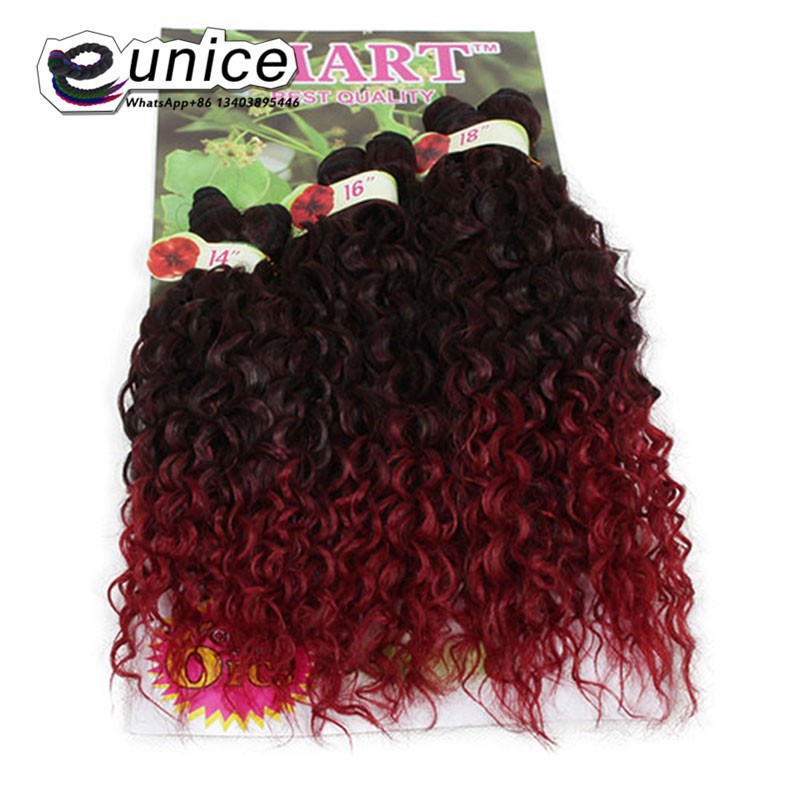 Eunice Hair Ombre Jerry Curl Two Tone 1b/BUG Weave Synthetic Hair Extensions 6PCS/lot