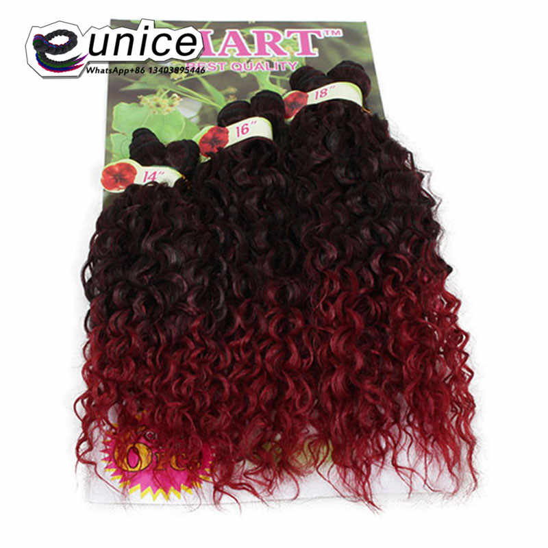 Ombre Synthetic Jerry Curl Weave Two Tone 1b/BUG Curly Weave Synthetic Hair Extensions 6PCS/lot Full head Brazilian Curly Hair