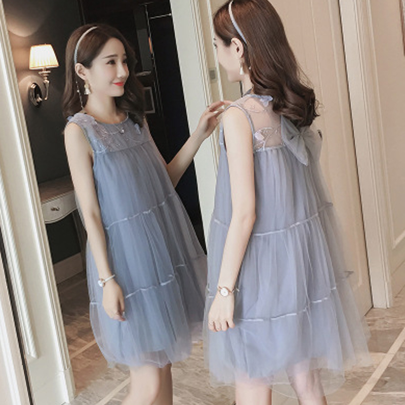 5f2849d2afd Maternity Clothes Pregnancy Summer New Korean Version Lace Splice Dress  Loose Long Section Mesh Yarn Pregnant