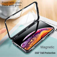 Luxury Double sided glass Metal Magnetic Case for iPhone XS MAX iPhone XR X 7 8 Plus Phone Case Magnet Cover 360 Full Protection