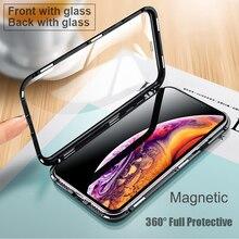 جراب معدني مزدوج الجوانب لهاتف iPhone ، جراب مغناطيسي زجاجي فاخر لهاتف iPhone XS MAX ، iPhone XR ، X ، 7 ، 8 Plus ، 360