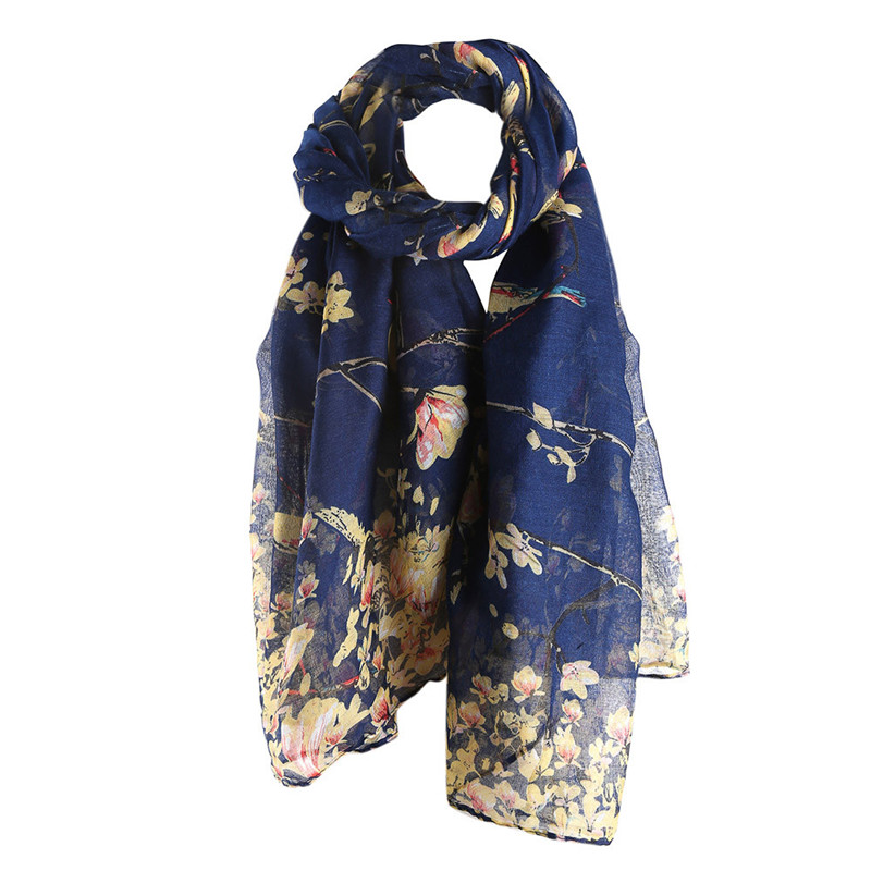 New 2018 Women <font><b>Scarf</b></font> Birds Print Wrap Shawl Soft Lady <font><b>Silk</b></font> <font><b>Scarf</b></font> <font><b>180*90cm</b></font> Wholesale 7 Colors image