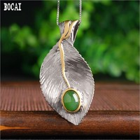 Real 925 solid sterling silver with natural stone pendant vintage ethnic style leaf pendant
