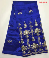 African Embroidery George Lace Fabric Silk In Royal Blue 5yards Pcs Silk Satin For Sewing Nigerian