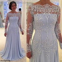 2017 Vintage Mother Of the Bride Dresses Long Sleeve Illusion Back Neck Appliques Beading Chiffon Plus Size Customized Cheap