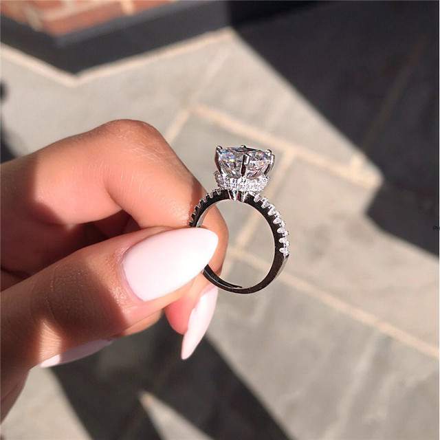 Crown Promise ring Real 925 Sterling silver AAAAA Cubic Zirconia Enagement Wedding Band Rings for women men Finger Jewelry Gift