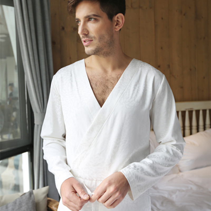 b2bb3258776 Men Jacquard Tencel White Bodysuit One piece Sleepwear Jumpsuit Lounge Wear  Homewear Romper-in Men s Pajama Sets from Underwear   Sleepwears on ...