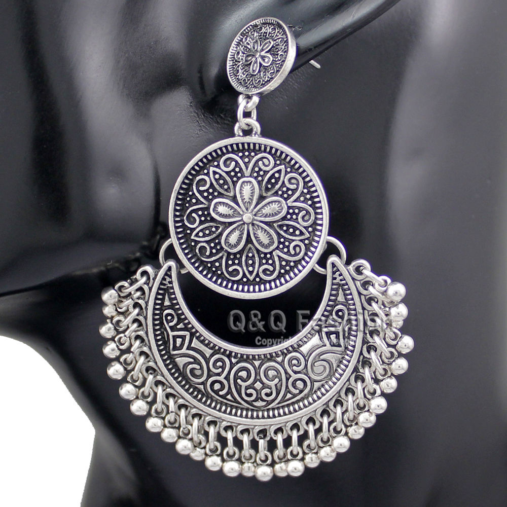 Vintage Cold Silver Tribal Ethnic Bali Jhumka Jhumki Brocade Bead Lotus <font><b>Mexico</b></font> Gypsy Dangle Earrings Jewelry 2017 <font><b>New</b></font>