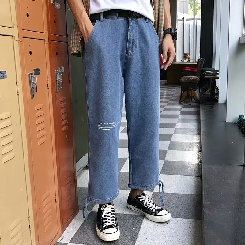 2019 New Summer Casual Jeans Men Light Color Loose Straight Nine Pants Youth Port Wind Trend Fall Feeling Beam Wild Old Pants