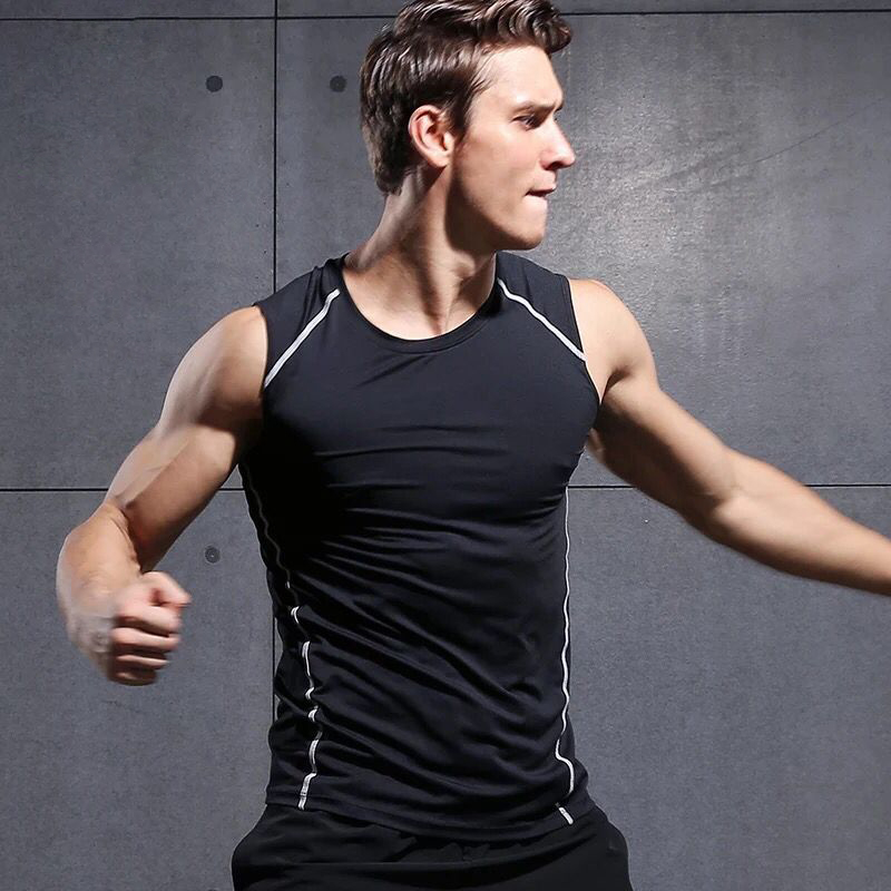 Reflective Summer Running Vest Gym Tank Top Bodybuilding Sleeveless Men Running Shirt Sports Training Fitness Compression Tight