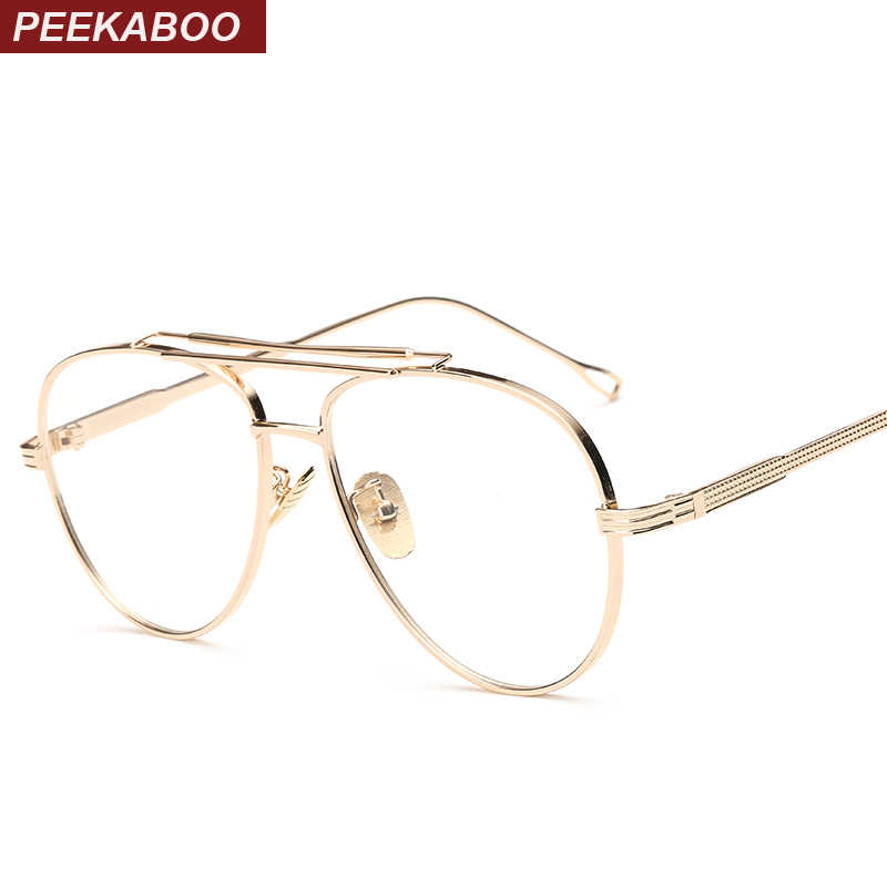 bee3eaf8f3dc Peekaboo clear lens gold male spectacle frames for men retro flat top  designer eye glasses man