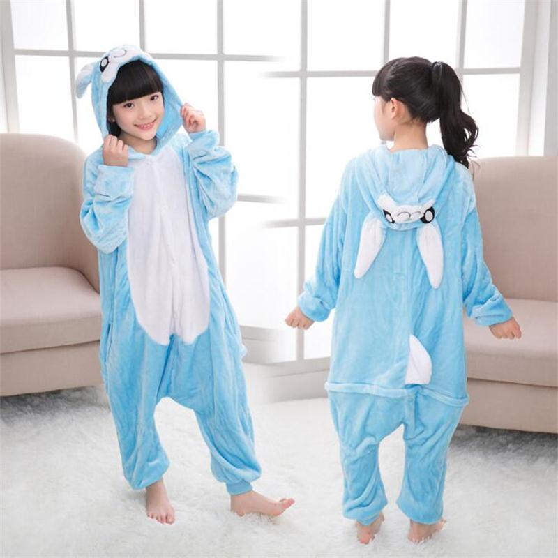 Furry Bunny Costume Kids Animal Onesies Pink Rabbit Fancy Animal Costume Jumpsuit Pajamas Children Toddlers Size 2-12 Years Old