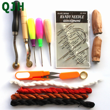 hot deal buy 14pcs leather tools kit diy handmade craft stitching sewing tool leather needle steel stitcher sewing awl shoes&bags hole hook