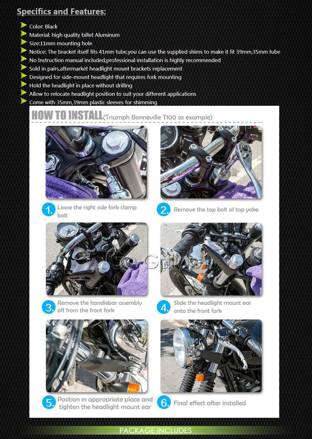 Frenshion 38-51mm L/ámpara de faros de la motocicleta Soporte de horquilla de montaje Negro Universal Headlight Lamp Mount Fork Bracket para Chopper Bobber Street Bike Cafe Racer Harley Davidson