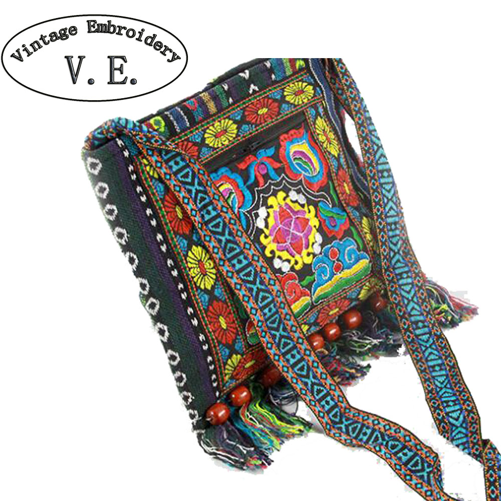 Nuevo bolso Bordado de la Vendimia de Boho Étnico Hmong Bag Shoppers Hobo hombro