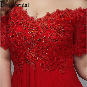 Image 5 - Elegante Formele Jurken Avondjurk Plus Size Lange Avondjurk 2019 Rode Elegante Party Gown Korte Mouw Gewaad Soiree