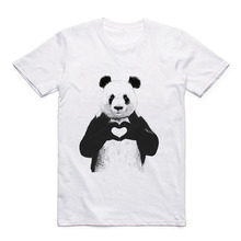 Printed Pattern Cute Animals T Panda/Lion/Tiger/Dog Summer Modal Mens White Casual Tops Short Sleeve