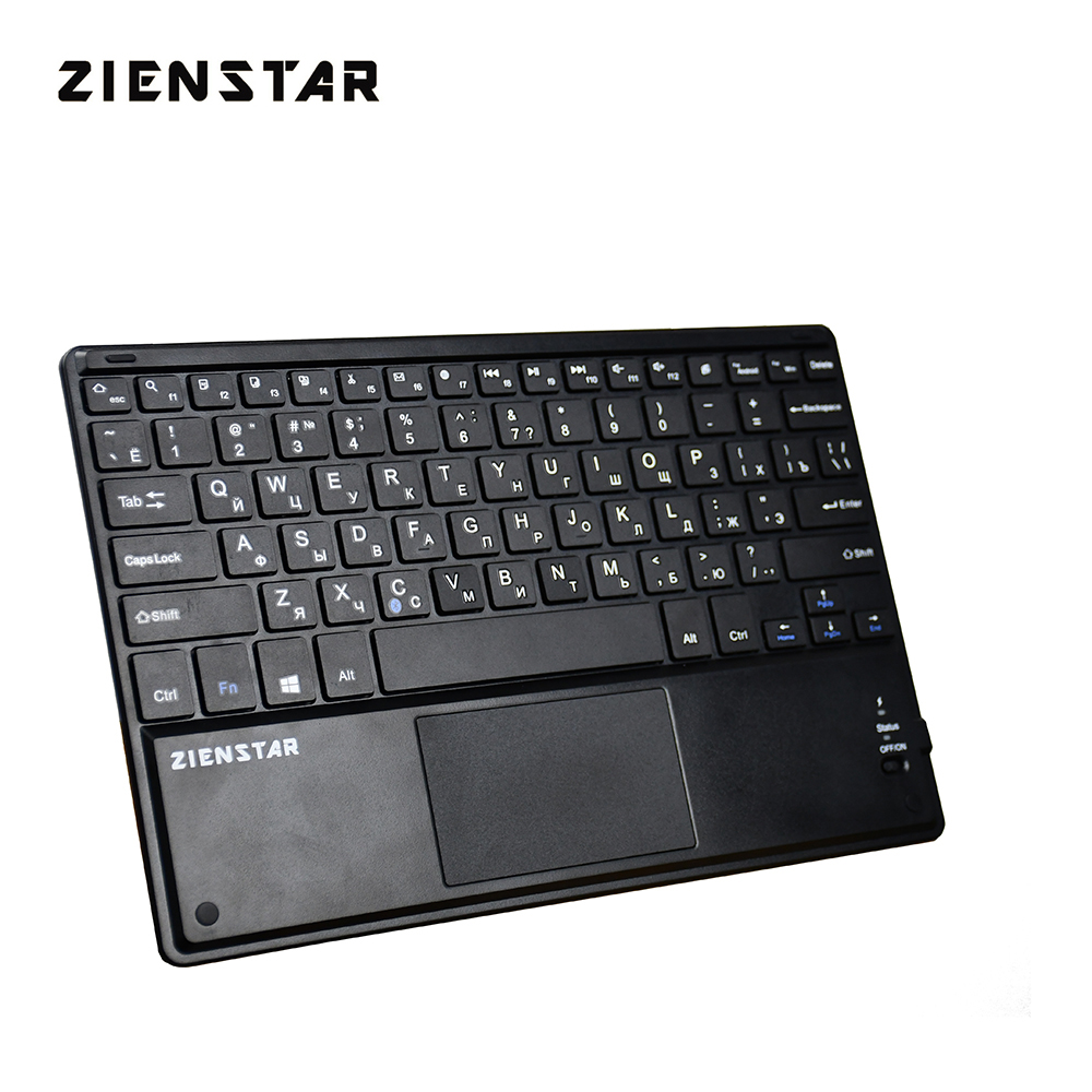 Zienstar 10 Inch Wireless Bluetooth Keyboard With Touchpad,Russia Letter For Ipad/PC Computer