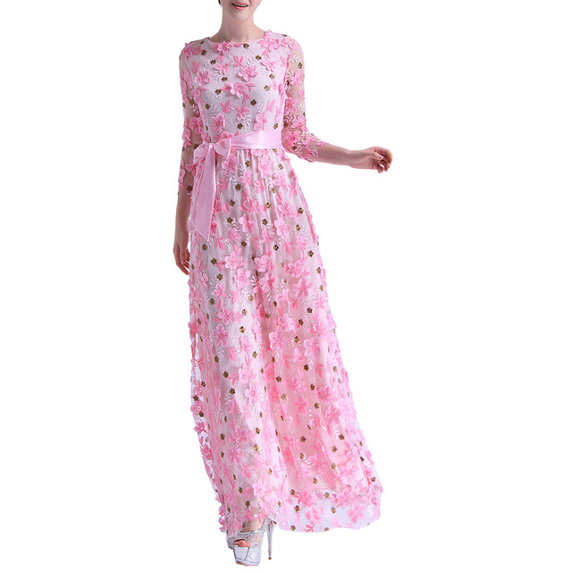 Vestidos de playa Womens Fit-and-Flare Flower Embroidery 3/4 Sleeve Maxi Party Dress with Belt