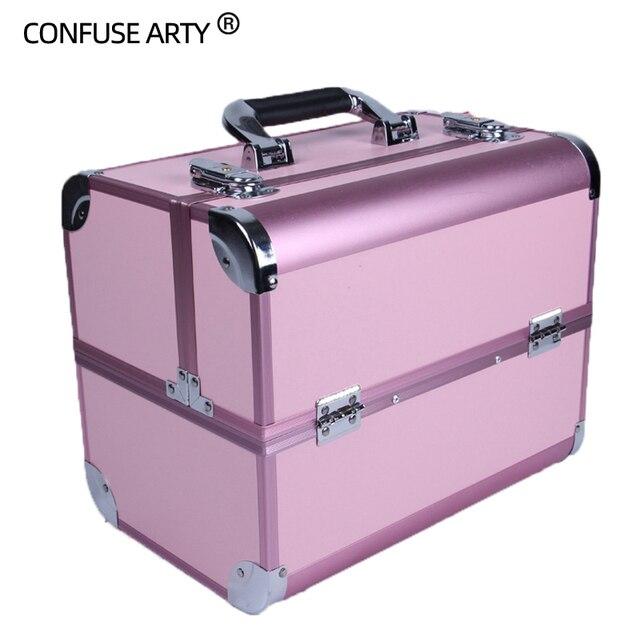 Sacchetto cosmetico portatile di valigie di trucco di bellezza professionale multi funzione cosmetologia del sopracciglio del tatuaggio insegnante manicure caso