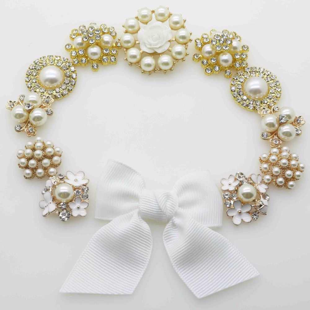 e96e123af1 11pcs/Set Alloy Rhinestone Pearl Buttons for Wedding Invitation Card Design  Decoration DIY Birthday Invitation Card