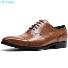 QYFCIOUFU European Style Handmade Genuine Leather Men's Cap Toe Dress Shoes Formal Shoes Office Business Wedding Loafer Shoes