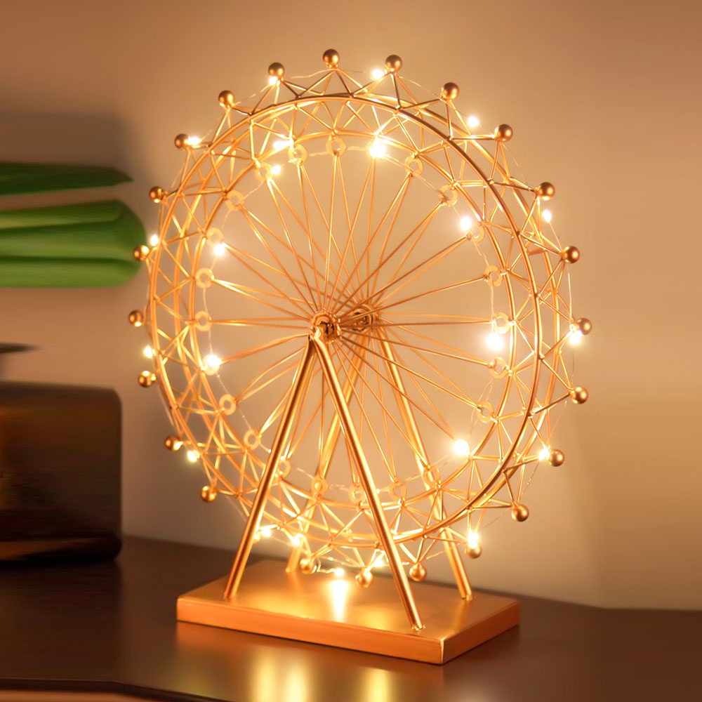 Nordic Iron Ferris Wheel Ornaments Rotating Table Lamp Creative Crafts Bedside Lamp Living Room Bedroom Home Decorations no frame canvas