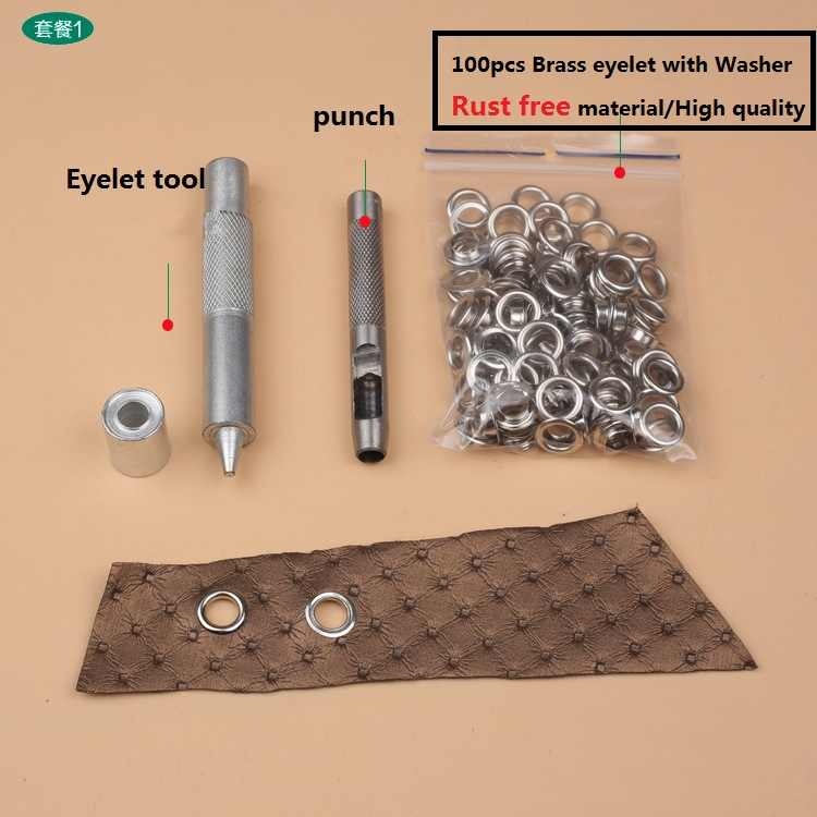 100set 6mm Eyelets Grommet Washer For Leather Craft Eyelet Punch Die Tool Kits