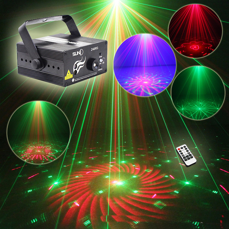 Mini Led RG Home Stage Lighting Effect 40 Patterns Star Laser Projector With Remote Lumiere Disco Lights Dj Party Stage Light 2pcs dj disco par led 54x3w stage light dmx strobe flat luces discoteca party lights laser rgbw luz de projector lumiere control