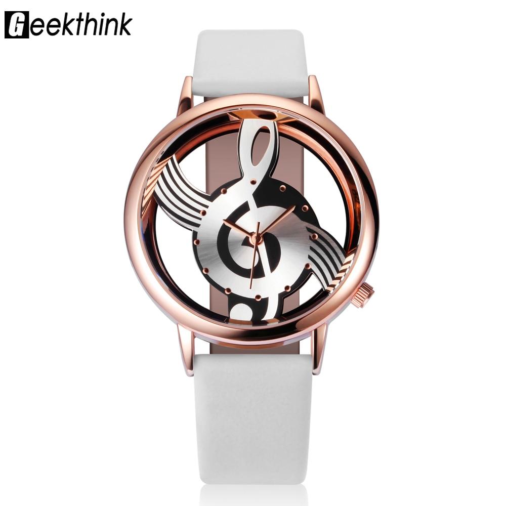 2018 montres femmes Top marque Designer bracelet en cuir Quartz analogique creux Note de musique G4 G Clef Montre Reloj Mujer Montre Femme