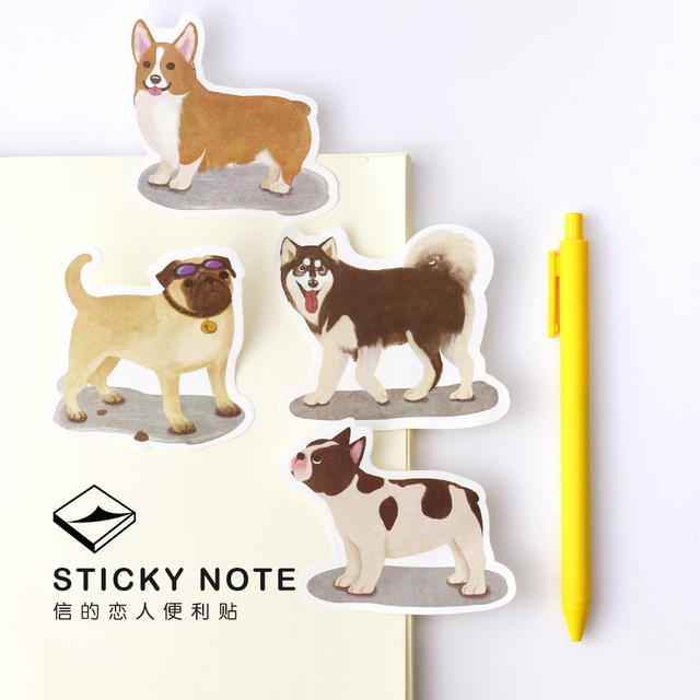 4 pçs/lote cão Doméstico nota pegajosa animal Bonito Post it adesivo adesivo memo pad Papelaria de Escritório e material Escolar 6108