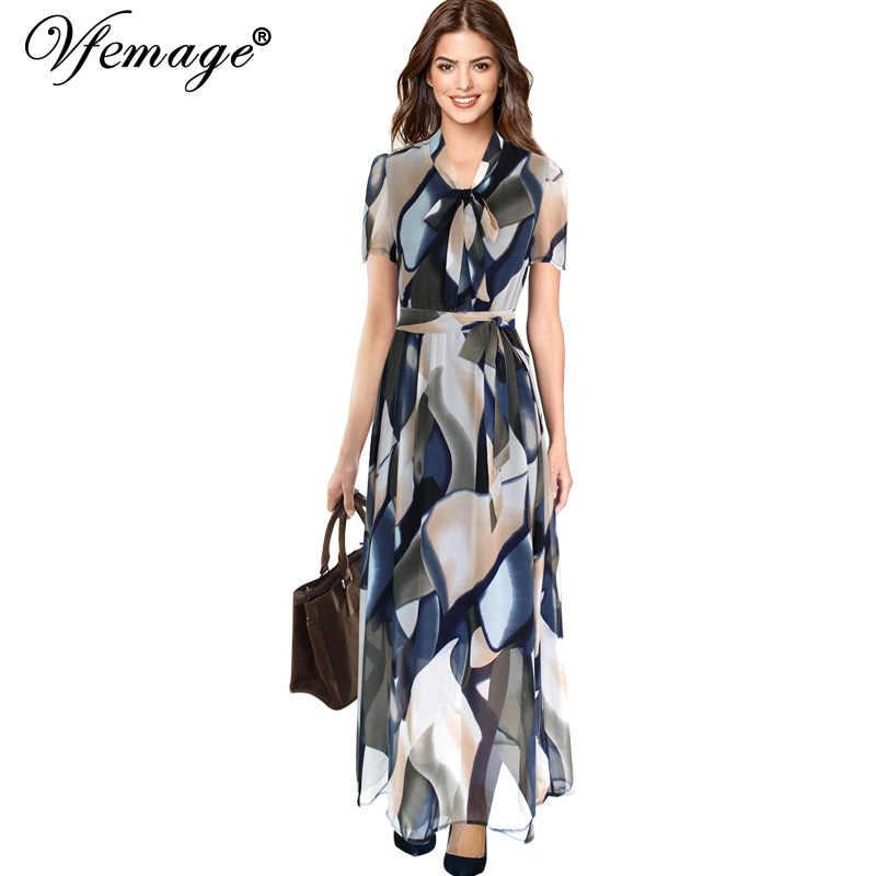 Vfemage Womens Elegante Zomer Tie Boog Hals Chiffon Belted Elastische Taille Party Club Casual Beach A-lijn Maxi Lange Jurk 053