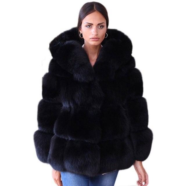 Aliexpress.com : Buy Fake Fox Fur Jacket With Hood Women Winter ...
