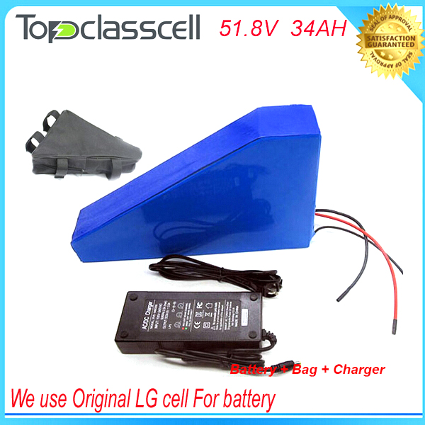 Triangle type 51.8v 34ah 1500w electric bike battery with bag + charger for 52v 34ah lithium ion battery with Use LG 18650 cell 48v 34ah triangle lithium battery 48v ebike battery 48v 1000w li ion battery pack for electric bicycle for lg 18650 cell