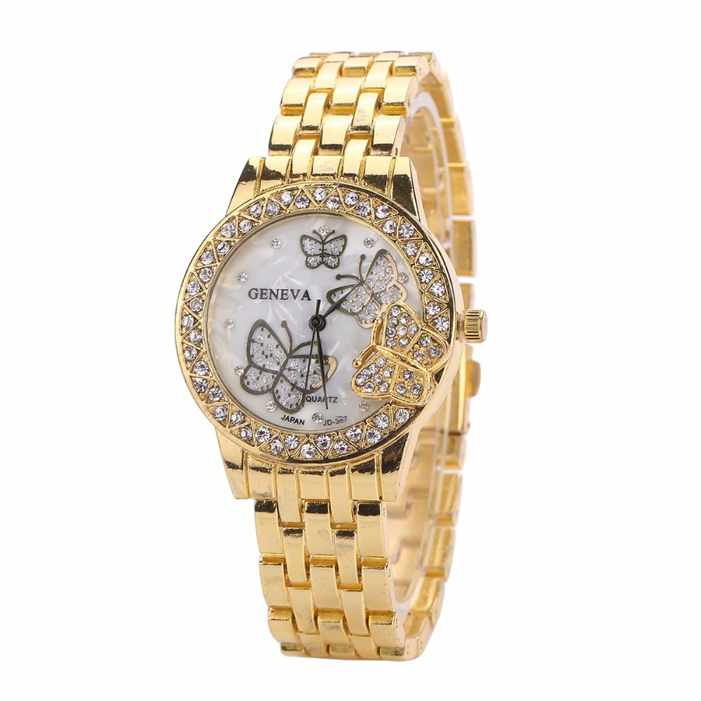 MINHIN Gold/Rose Gold/ Silver Plated Butterfly Watches Women Quartz Wristwatches Lady Full Steel Bracelet Watch Relojes