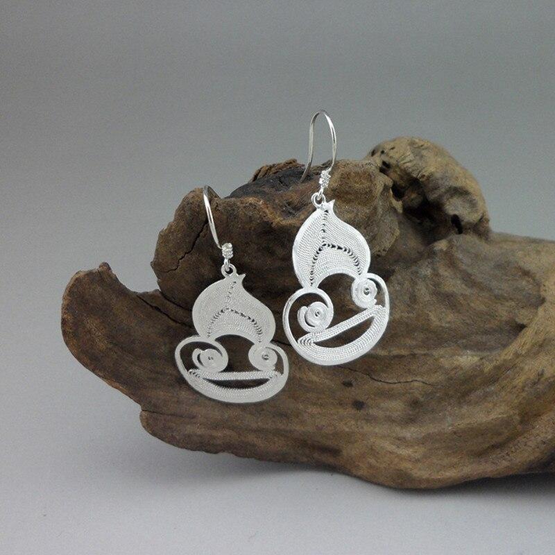 Hot Selling 2019 Products Cartoon Earrings Drop Handmade Miao Fashion Jewelry 999 Sterling Silver Earring Monkey Dangle Earings