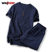 Hot Sale Summer Solid Short Sleeve Chinese Style Linen Wing Chun Kung Fu Clothes Men Martial