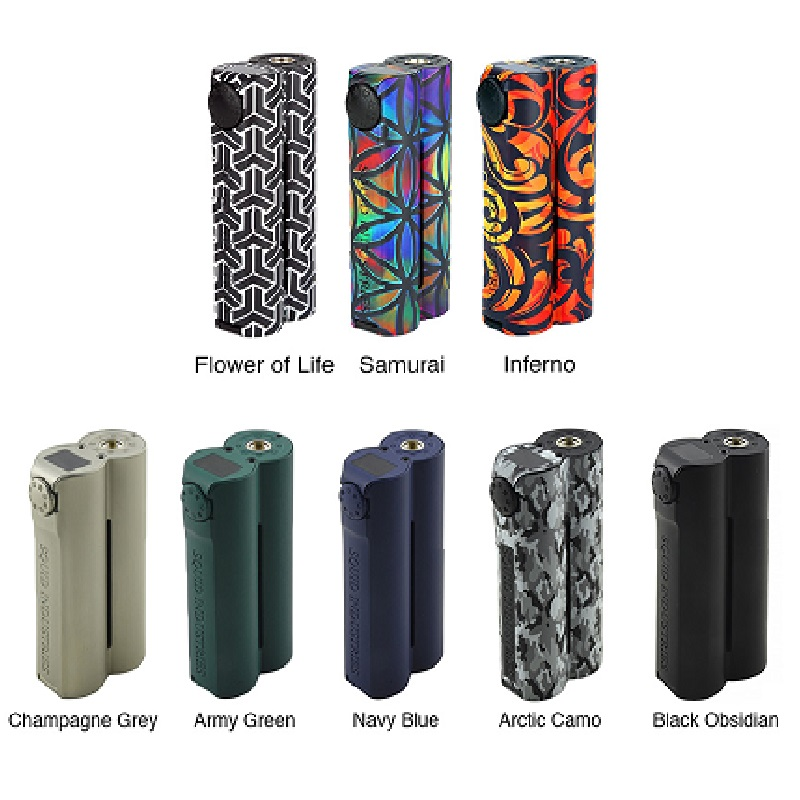 Heavengifts Squid Industries Double Barrel V3 150W VW MOD con pantalla plana OLED superior sin batería Double Barrel Box Mod VS Drag 2